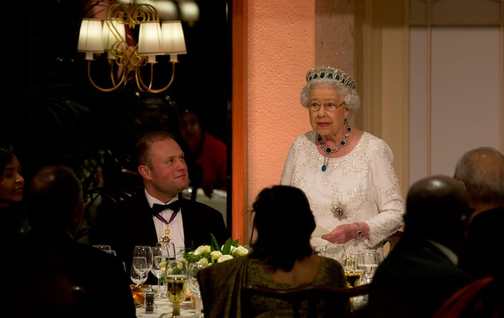 Queen Elizabeth II delivers her speech before a gala dinner during the CHOGM Commonwealth Heads of Government Meeting, in Attard, Malta.