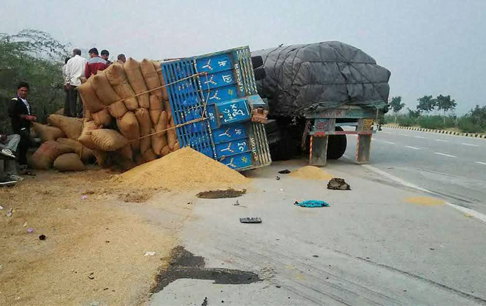 An accident site where a tractor trolly hits an another tractor in which three people died at Yamuna Express Way in Noida.