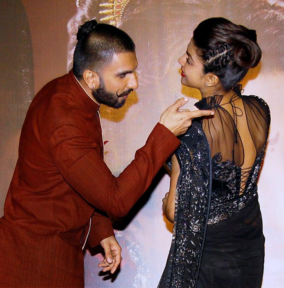 Actor Ranveer Singh and actress Priyanka Chopra at a promotional event in Mumbai.