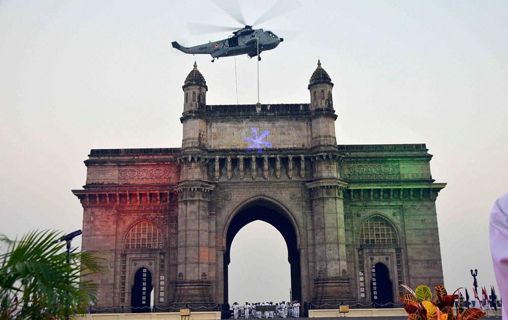 The rehearsal for beating the retreat (Tattoo ceremony) ahead of Navy week celebration at Gateway of India in Mumbai.