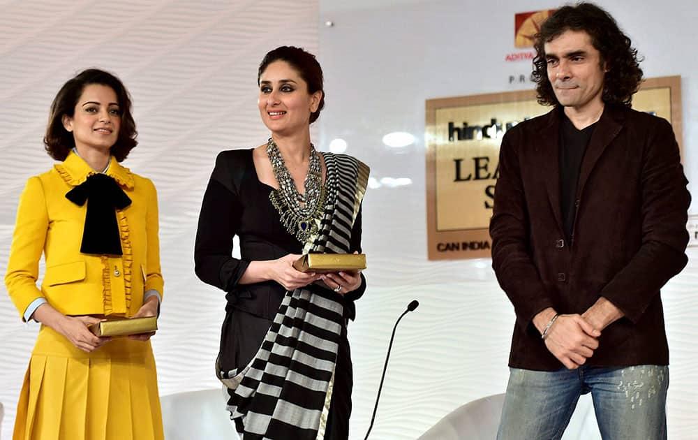 Actress Kareena Kapoor Khan, Kangana Ranout and director Imtiaz Ali during the HT Leadership Summit 2015 in New Delhi.