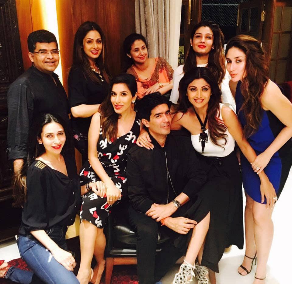 SOPHIE CHOUDRY :- Celebrating our fave Manish Malhotra 's birthday last night  Sridevi ma'am, Raveena, Urmila, Lolo, Bebo, Shilpa & J -twitter