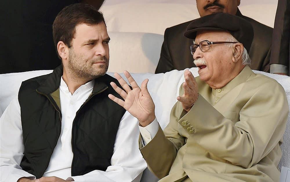 Congress Vice President Rahul Gandhi and BJP Senior Leader L K Advani on the occasion of Bhimrao Ambedkars 'Mahaparinirvan Diwas' at Parliament House Lawns, in New Delhi.