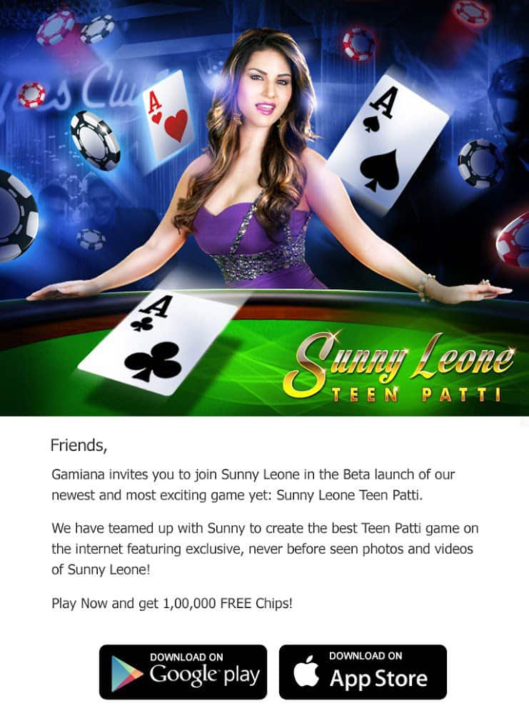 Sunny Leone :- Make sure to Download the #1 Card game now... Sunny Leone Teen Patti -twitter