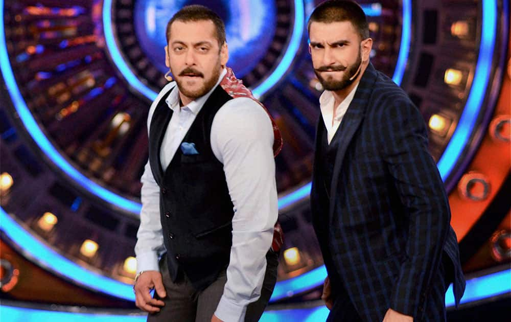 Actor Ranveer Singh with Salman Khan during promotion of his upcoming film Bajirao Mastani at a TV show in Mumbai.