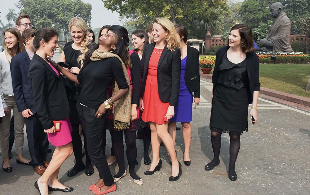 Students of Stanford University, USA, during their visit to the Parliament in New Delhi.
