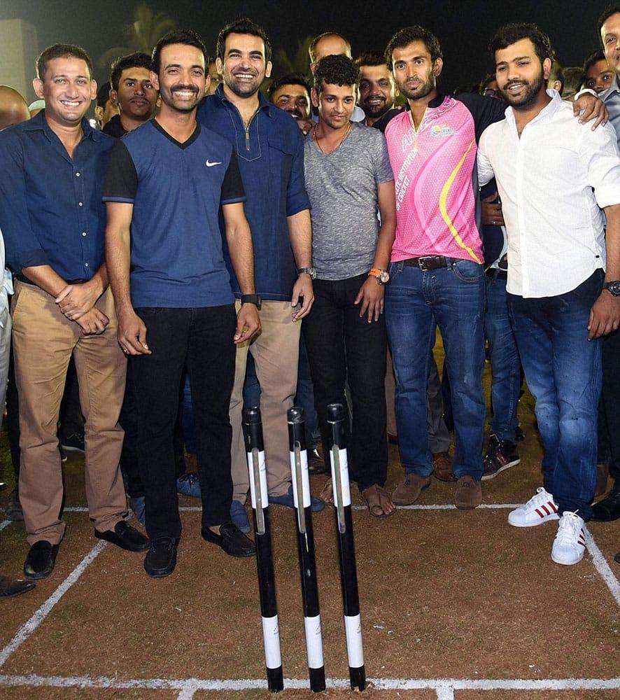 Indian cricketers Ajit Agarkar,Ajinkya Rahane Zaheer Khan, Amol Mujumdar and Rohit Sharma during the opening ceremony of Abhishek Nairs (pink) coaching academy in Mumbai.