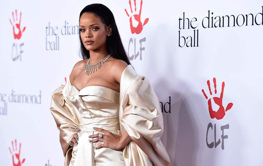 Rihanna attends the 2nd Annual Diamond Ball at The Barker Hangar, in Santa Monica, Calif.