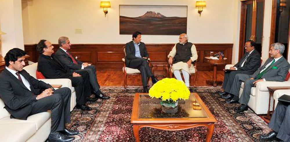 Prime Minister Narendra Modi with Pakistan Tehreek-e-Insaf (PTI) Chairman Imran Khan in a meeting in New Delhi.