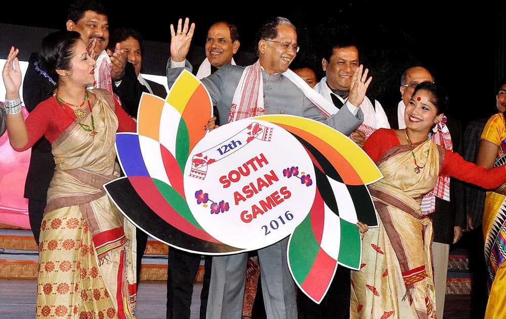 Assam Chief Minister Tarun Gogoi , Union Sports and Youth Affairs minister for State Sarbananda Sonowal and IOA officials during the launching ceremony of Logo and Mascot for the 12th South Asian Games in Guwahati.