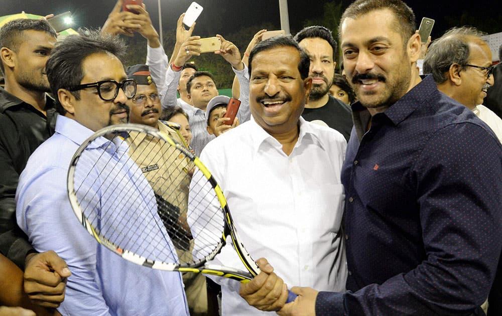 Actor Salman Khan during the inauguration of International women Tennis championship sports meet in Navi Mumbai.