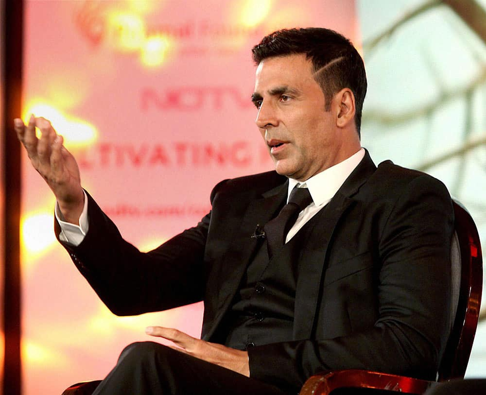 Actor Akshay Kumar during the launch of Cultivating Hope campaign in Mumbai.