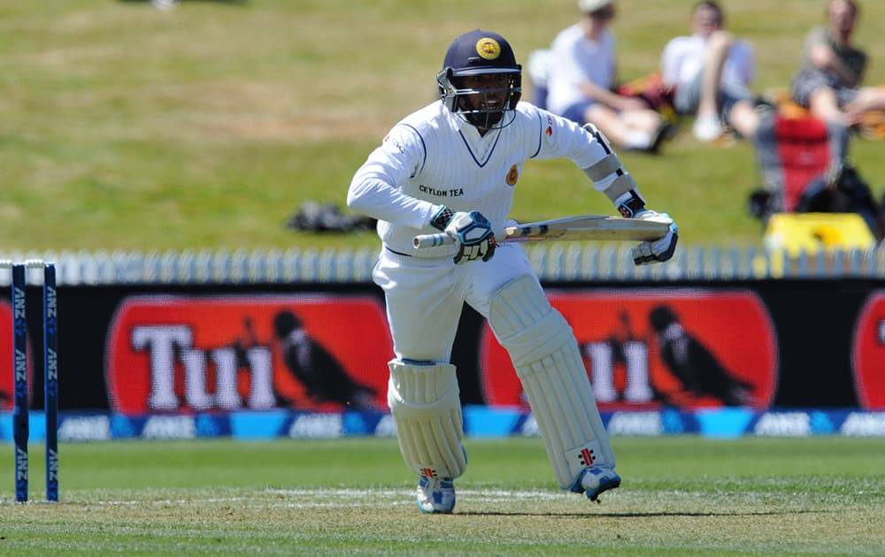 Sri Lanka's Kusal Mendis takes a run against New Zealand on day one of the second International Cricket Test, Seddon Park, Hamilton, New Zealand.