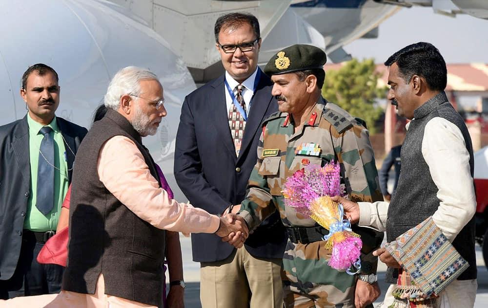 Prime Minister Narendra Modi arrives to attend the DGP conference in Bhuj, Gujarat.