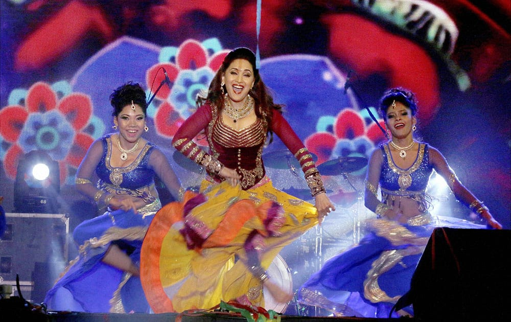 Bollywood actress Madhuri Dixit performs at an event in Ahmedabad.