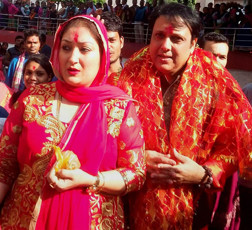 Bollywood actor Govinda along with his wife visiting Kamakhya Temple on his 52nd birthday in Guwahati.