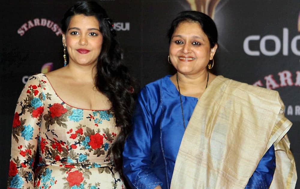 Actors Supriya Pathak with her daughter Sanah Kapoor during Sansui Colors Stardust Awards function in Mumbai.