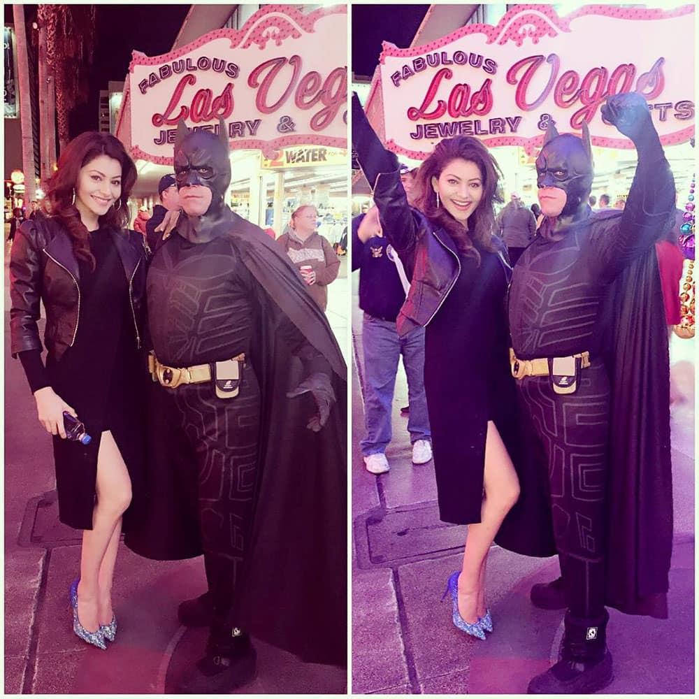 URVASHI RAUTELA :- I'm the goddamn Batman #fremontstreetlasvegas #christmas #merrychristmas -instagram