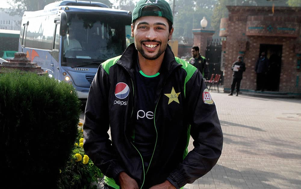 Pakistan fast bowler Mohammad Amir arrives at National Cricket Academy in Lahore, Pakistan.