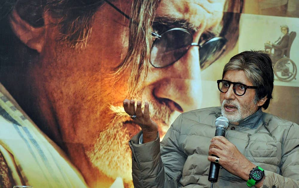 Megastar Amitabh Bachchan interacts with media people during the promotional of his new film Wazir, in Kolkata.