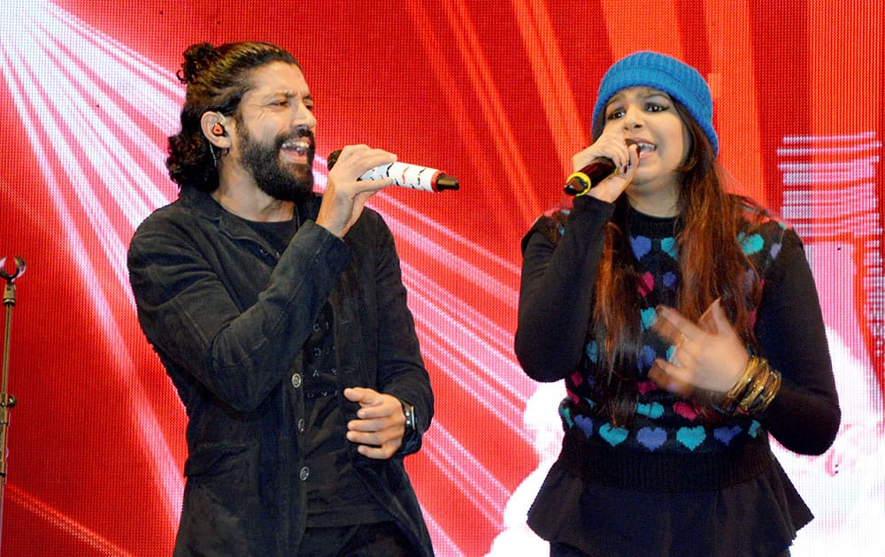 Actor, director and singer Farhan Akhtar performs during a live concert at Coke Studio in Gurgaon.