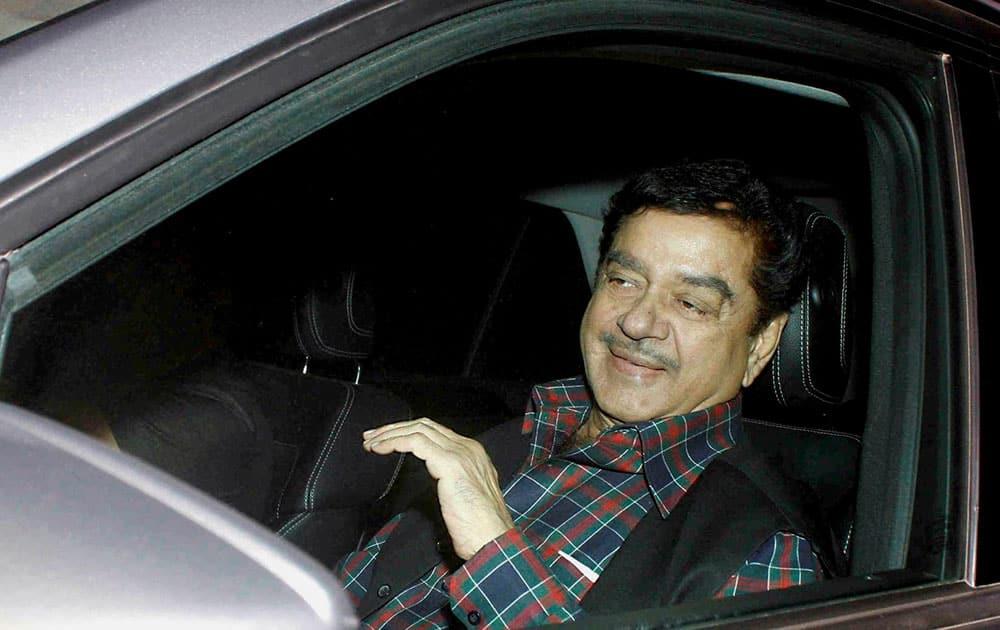 Actor turned politician Shatrughan Sinha arrives for 50th birthday celebrations of Salman Khan at his farmhouse in Panvel near Mumbai.
