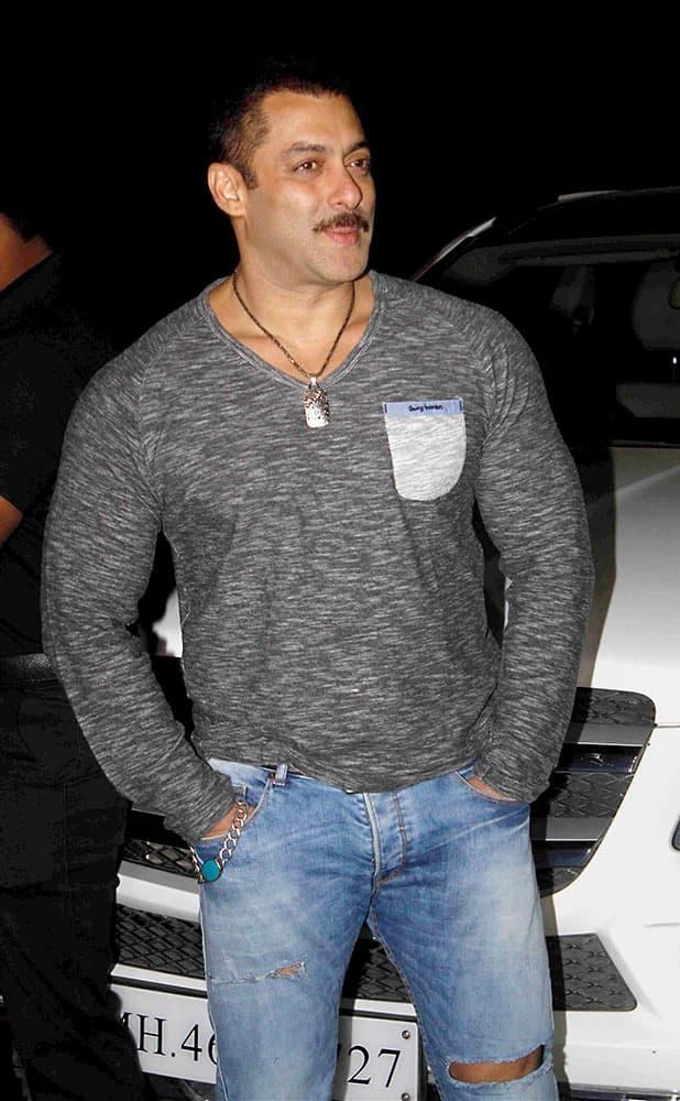 Actor Salman Khan during his 50th birthday party at his farmhouse in Panvel near Mumbai.