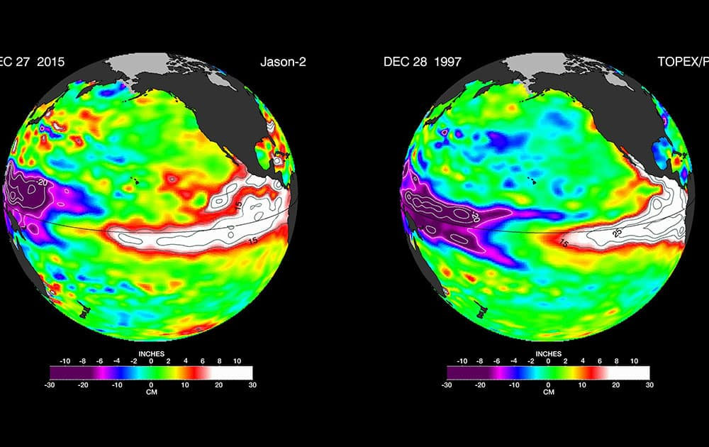These false-color images provided by NASA satellites compare warm Pacific Ocean water temperatures from the strong El Nino that brought North America large amounts of rainfall in 1997, right, and the current El Nino as of Dec. 27, 2015, left.