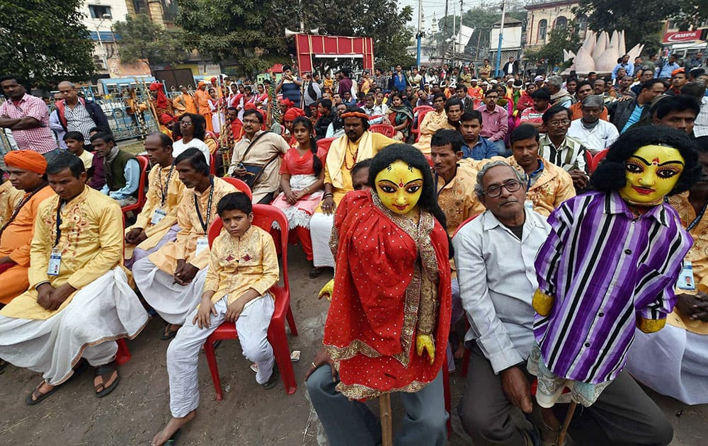 Artists from different districts attend a cultural programme during CPI(M)s ongoing Kolkata Plenum in Kolkata.
