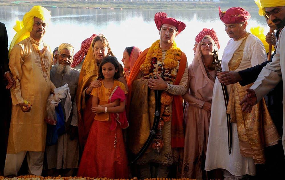 Holkar dynasty prince Shivaji Raos (Richard) son Yashwant Rao Holkar during his wedding ceremony with industrialist Vijay Crishna Godrejs daughter Nyrika at Maheshwar in Khargone.