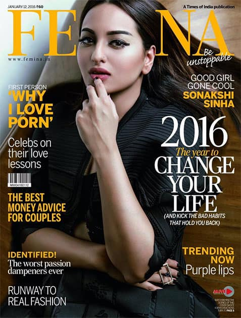 Bidding 2015 adieu and hello to 2016 in style on my first @FeminaIndia cover! Out tomorrow! Thanks @sandipandalal. Twitter@sonakshisinha