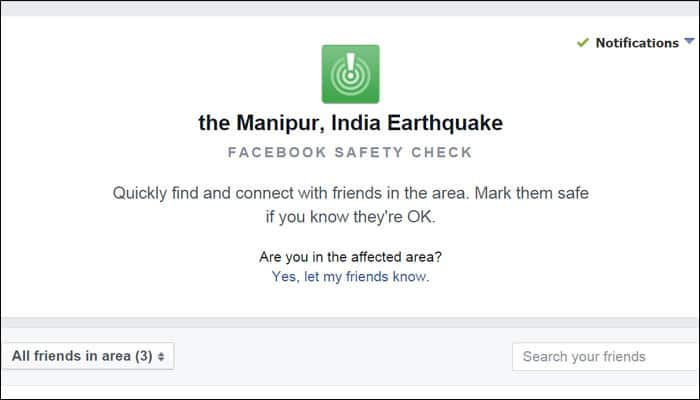 Manipur earthquake: Facebook activates safety check feature