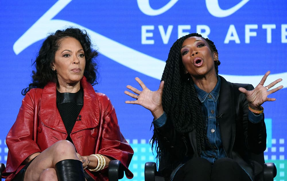 """Executive producer Debra Martin Chase, left, and actress Brandy Norwood speak during the """"Zoe Ever After  panel at the BET 2016 Winter TCA in Pasadena, Calif."""