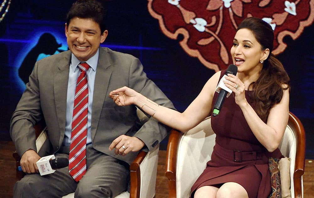 Bollywood actress Madhuri Dixit Nene along with her husband Sriram Nene during an interactive session at the Tiecon Mumbai Entreprenurial Conclave 2016 in Mumbai.