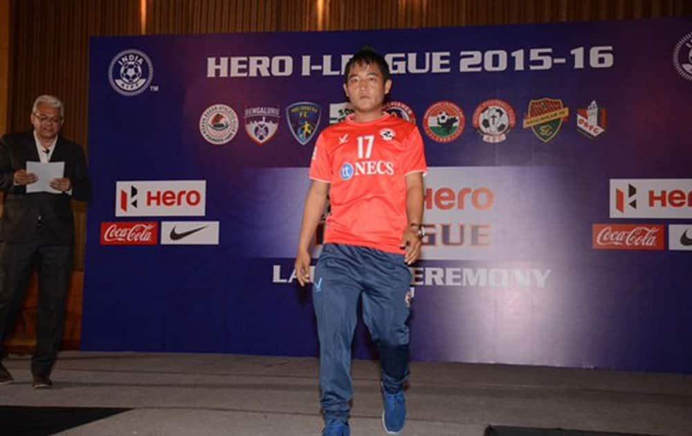 Aizwal FC's David Lalrinmuana at the launch ceremony of I-League 2016 in Kolkata. (Courtesy @ILeagueOfficial)