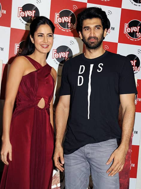 Actors Aditya Roy Kapur and Katrina Kaif at an FM radio station during promotion of film 'Fitoor' in Mumbai.