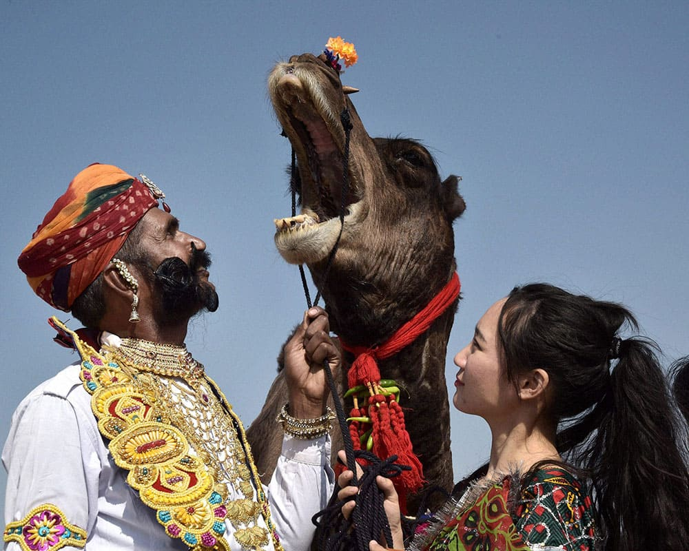 A foreign tourist looks at a mustached performer standing with his camel during the first day of the ongoing 23rd International Camel Festival 2016 in Bikaner.