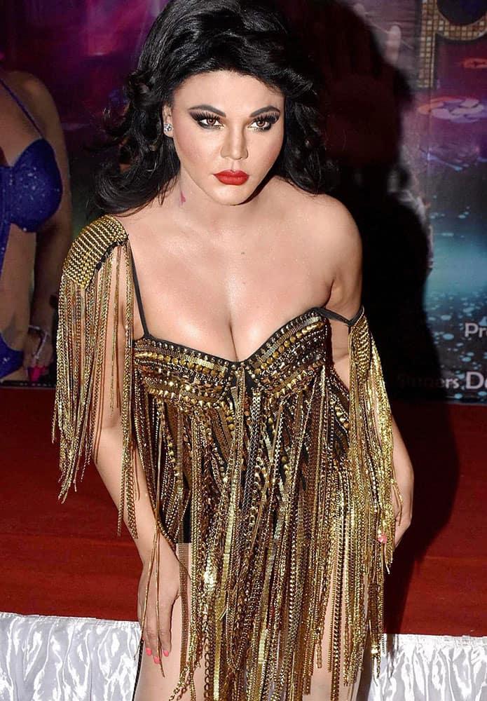 Bollywood actress Rakhi Sawant during the launch of video song Party Punjabi Style in Mumbai.