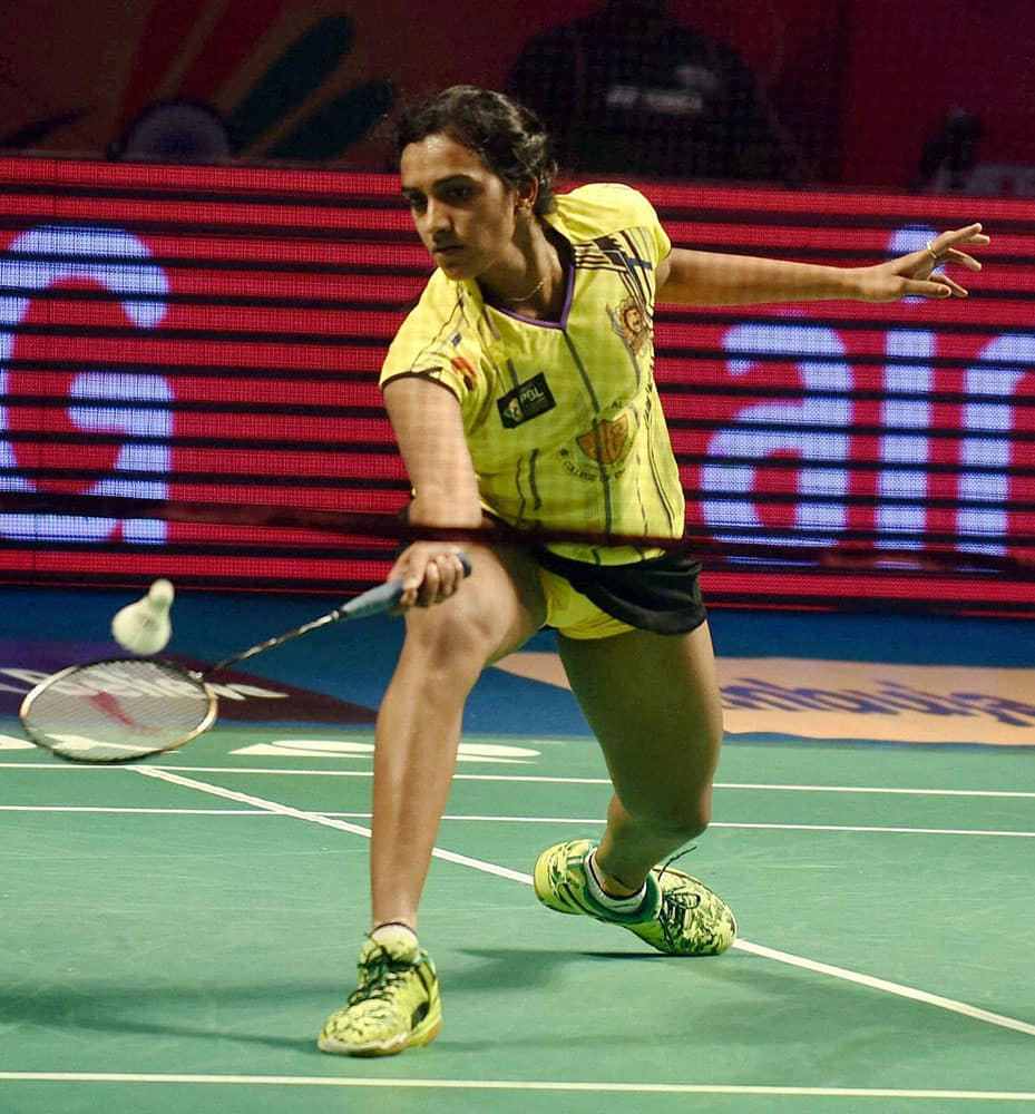 P.V.Sindhu of Chennai Smashers play a shot against Supanida K of Hyderabad Hunters during the Women's singles at the Indian Premier Badminton League in Hyderabad.