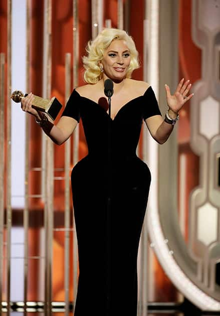Lady Gaga accepts the award for best actress in a limited series or TV movie for her role in,