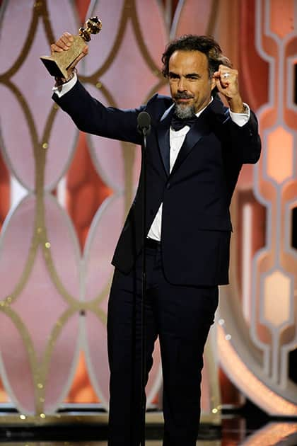 Alejandro G. Inarritu accepts the award for best director for