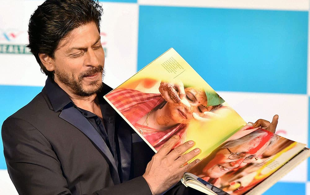 Bollywood actor Shah Rukh Khan at the launch of the coffee-table book Shades of Bengal in Kolkata.