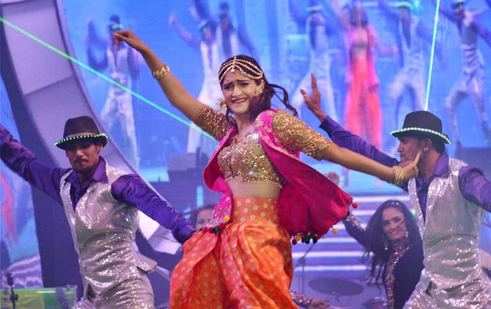 Bollywood actress Soman Kapur performs during Saifai Mohotsav.