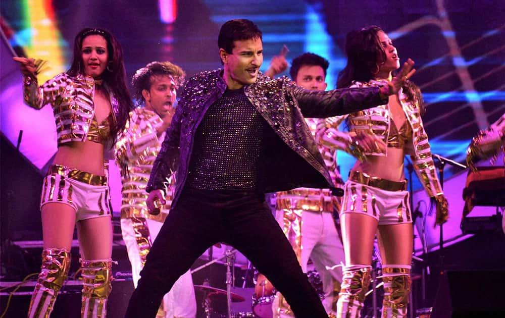 Bollywood actor Saif Ali Khan performs during Saifai Mohotsav.