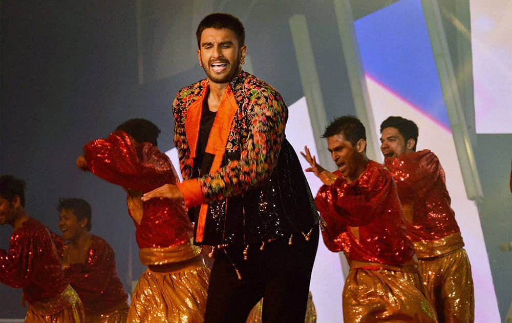Bollywood actor Ranveer Singh performs during Saifai Mohotsav.
