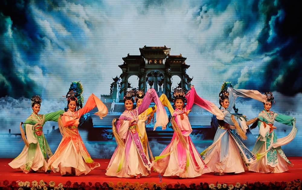 Chinese Anhui Hungmei Opera theatre perform 'Goddess Marriage' opera in New Delhi.