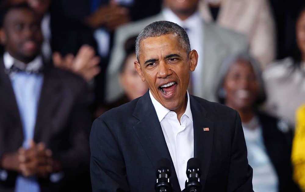 President Barack Obama speaks at McKinley High School in Baton Rouge, La.