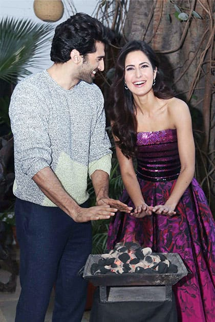 Bollywood stars Kaitrina Kaif and Aditiya Roy Kapoor during the launch of a song from their upcoming film Fitoor in New Delhi.
