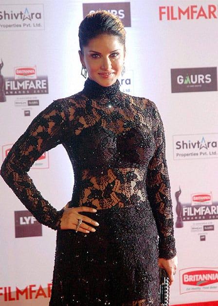 Bollywood actor Sunny Leonne during the 61st Britannia Filmfare Awards function in Mumbai.