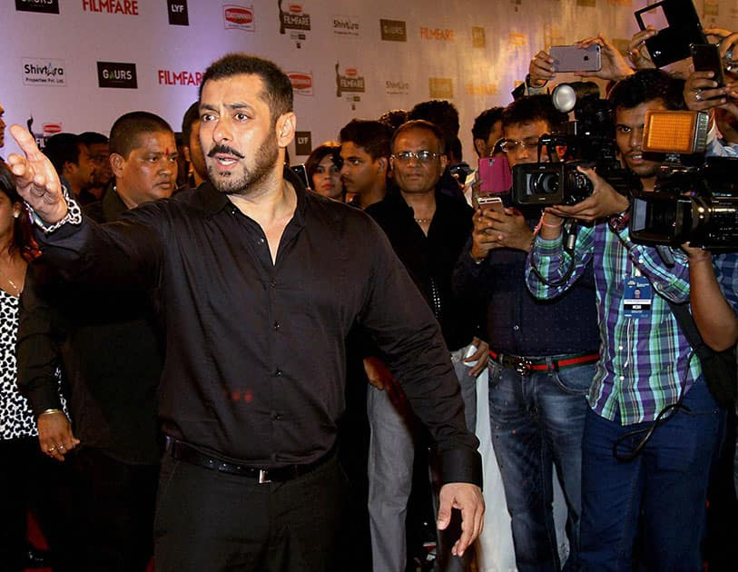Bollywood actor Salman Khan during the 61st Britannia Filmfare Awards function in Mumbai.
